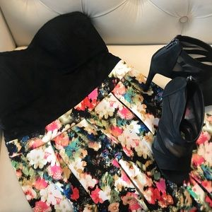 Strapless floral dresss